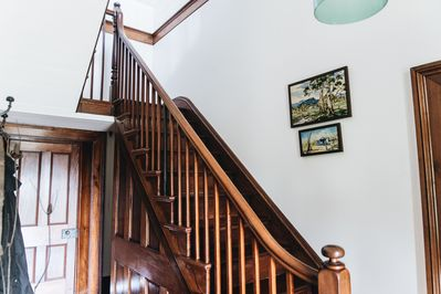 The original staircase is gorgeous but is not suitable for small children.