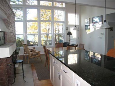 Kitchen/Great room w/ 16 ft. windows & lake view