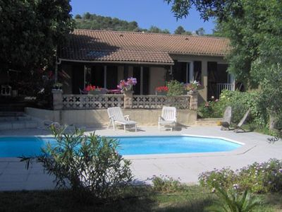 Photo for Provencal villa facing south, garden, terraces, pool, near beaches and coves