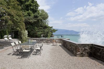 Lakeside Terrace With Big Waves