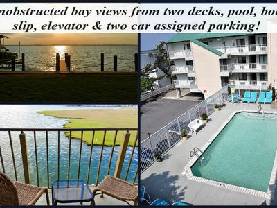Photo for DIRECT BAY FRONT WITH TWO PRIVATE BALCONIES, POOL, BOAT SLIP & ELEVATOR