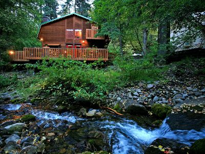 Photo for ON THE STREAM- SHORT WALK TO RESORT, HOT TUB, WOOD FIREPLACE. COZY HIDEAWAY