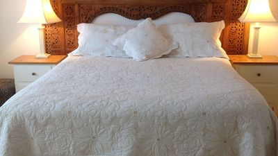 Comfortable queen sized bed.