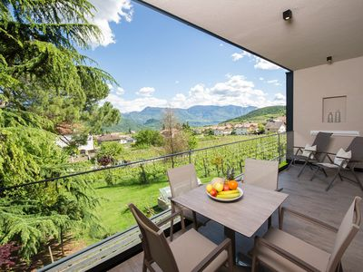 """Photo for Modern Apartment """"App. Blauburgunder"""" with Mountain View, Wi-Fi, Garden, Pool, Sauna & Jacuzzi; Parking Available"""
