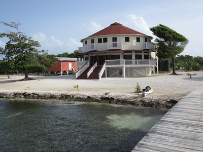 This beautiful home sits of 12 acres of oceanfront property on Calabash Caye.