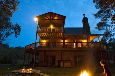 Crooked Creek Cabin at Nightfall—The Perfect Time for S'mores by the Fire Pit!