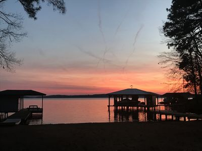 MAIN LAKE View in protected cove on Flat Lot w/ WIDE SANDY BEACH