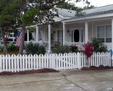 Photo for BEACH COTTAGE 3BR, GOLF CART, PORCH SWING, 30 STEPS TO POOL, CLOSE TO EVERYTHING
