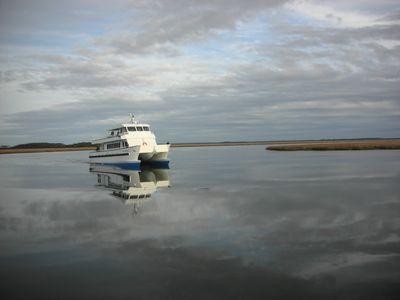 You'll probably ride the passenger ferry, the Katie Underwood to reach Sapelo.