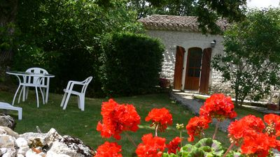 Photo for Beautiful cottage, sleeps two with  with private garden and Saline pool