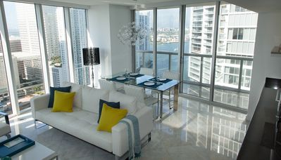 The water views flood the condo with light. High ceilings, plenty of space.