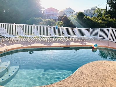 Photo for Spacious, pet friendly, huge pool, and less than a block to Cherry Grove Beach!