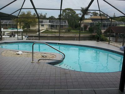 Large heated pool begs you to enjoy the water every day.