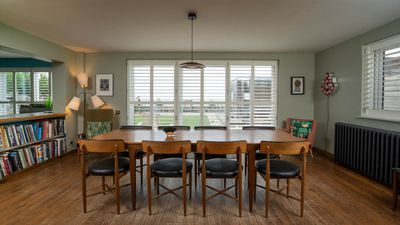 dining table and chairs looking out to see