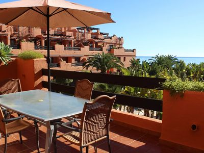 Photo for One bedroom apartment front line beach location Estepona Costa del Sol