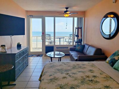 Photo for BUDGET FRIENDLY OceanFront Couple's Getaway!1st Floor w/ 2nd Floor Private Balcony-FREE HBO & WIFI!