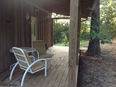 The back porch is a great place to enjoy your morning coffee