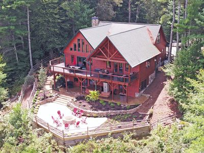 Photo for NEW! Riverfront & Mountain Views! Sleeps 13+, Hot tub, fire pit, and pool table