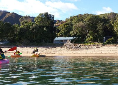 Kayaking in front of the Cottages.  This listing is for the Rear Cottage.