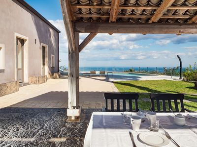 Photo for Luxury private villa with sea views and pool on Mt Etna