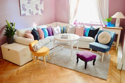 Bright, spacious, elegant Living room. Seating for up to 10 people.