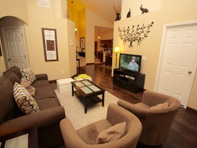 Photo for Home features a flat screen LCD TV with cable channels