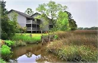 Beautiful marsh view with outside dining on the deck