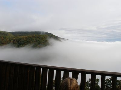 Cool fall morning view from the deck