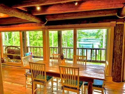 Photo for Lake-front solitude in beautiful, comfortable Log Home  10 miles to Glacier park