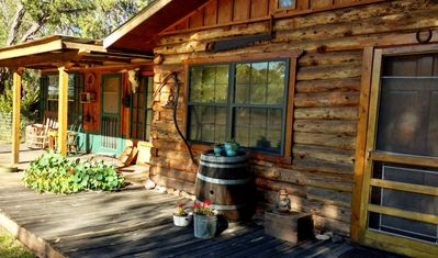 Spacious 1-Bedroom Log Cabin with Covered Deck at New Mexico Cabin Rentals