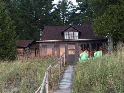 Photo for Authentic Waterfront Log Cottage On Sand Beach