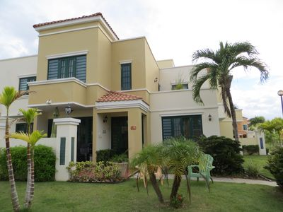 Front view of our villa located in a gated, safe & very quiet beach community