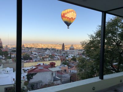 7 AM is daily launch of Balloonsviewed  from 7th Level covered terrace