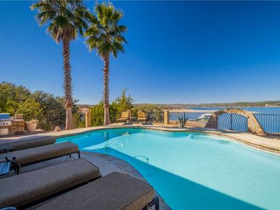 Photo for STAY HERE!! Lake Travis Lakefront- Waterfront Home with Amazing Views, Pool and Hot Tub!