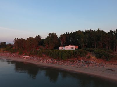 Cottage at Sunset from Lake Superior