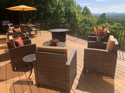 INCREDIBLE VIEW from expansive deck with new all weather wicker furniture