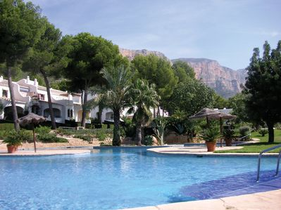 Largest communal pool in Javea, sat at the foot of the Montgo mountain in a pine