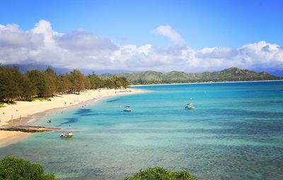 Beautiful Kailua Bay is a very easy 5 minute stroll.