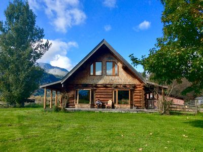 Photo for Beautiful Log House on acreage. Tranquil. Incredible mountain views & wildlife.