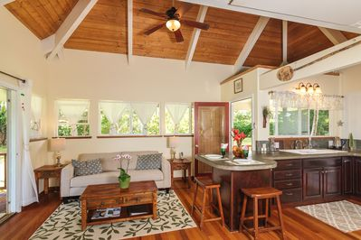 The cottage is decorated in a stylish,contemporary island decor