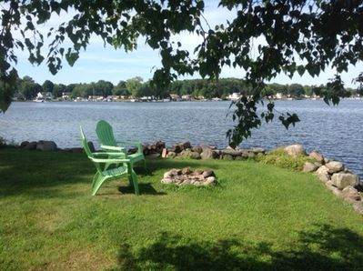 Large front yard right on the water - enjoy the sunset and have a campfire.