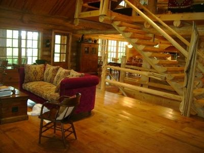 Spacious 3 story log home with open floor plan