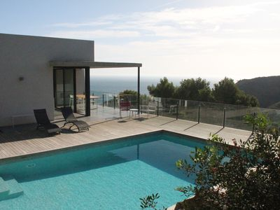 Photo for New villa, 5 bedrooms / 12 beds, sea view, quiet, private pool, 5 mins walk to beach