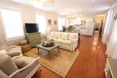The family room has a sleeper sofa with a queen size bed