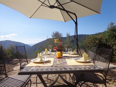 Photo for Small stone house Rustico in Italy with enchanting Alps and sea views