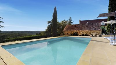 Photo for Beautiful farmhouse, adjoining cottage and swimming pool with lovely views