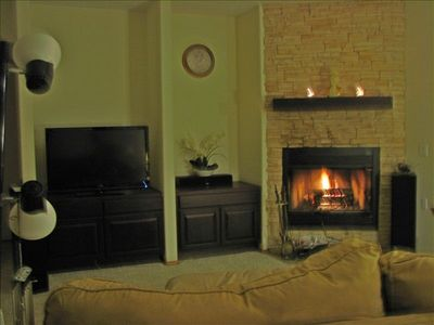 Family room and fireplace.