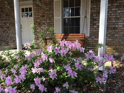 Spring azaleas and front porch swing