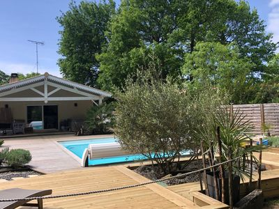 Photo for PROMO Lège Cap Ferret 5 minutes from the ocean, family villa heated pool, spa 38 °