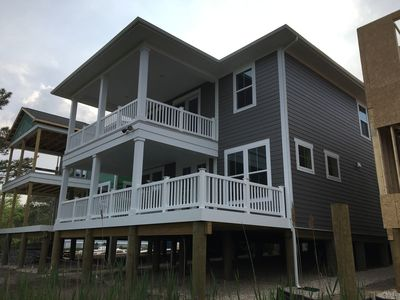 Brand new home on the bay! Great deck off living room facing bay.